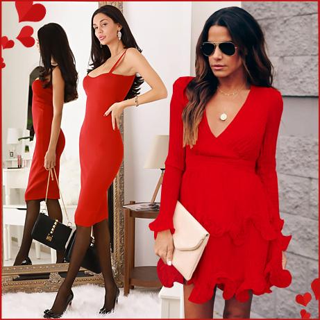 Стилна рокля в червен цвят