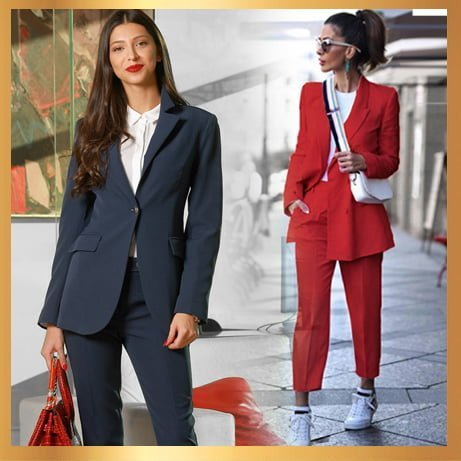 Стилен дамски костюм в червено и тъмно синьо.