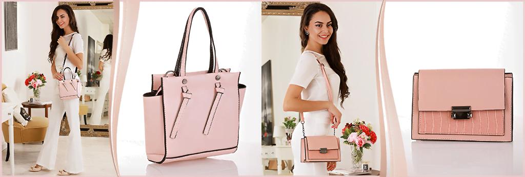 Стилна дамска чанта в розов цвят